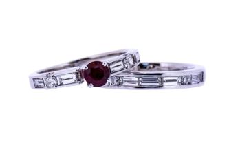 Ruby and diamond ring and wedding band