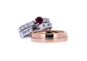 Ruby and Diamond ring and rose gold wedding band